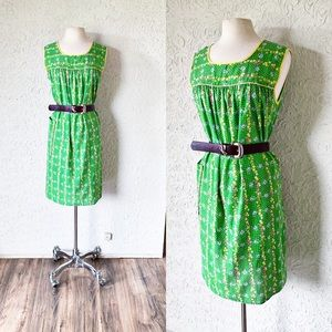 Jelly Green Floral & Polka Dot Dress | Vintage